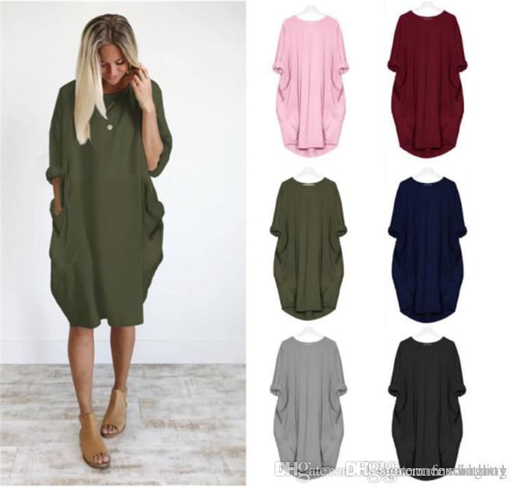 Sommer-Frauen-Taschen-Kleider O-Ansatz lose lange Hülsen-Kleid-Frauen-verursachende Kleider Plus Size Damenkleidung