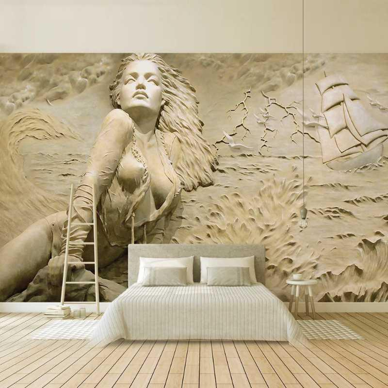 European Style Golden Wallpaper 3D Stereo Relief Seaside Sexy Body Art Beauty Living Room Bedroom TV Background Wall Decor mural