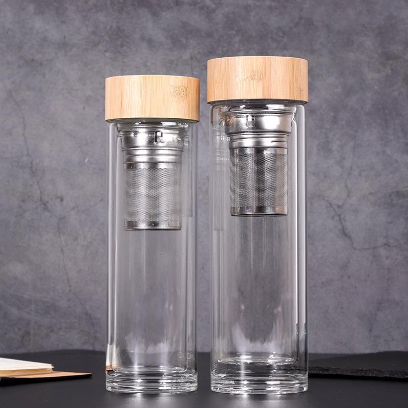 450ml Bambou Couvercle tasses d'eau à double paroi en verre de thé Tumbler Avec Passoire Et Infuser Panier Bouteilles en verre d'eau GGA2633