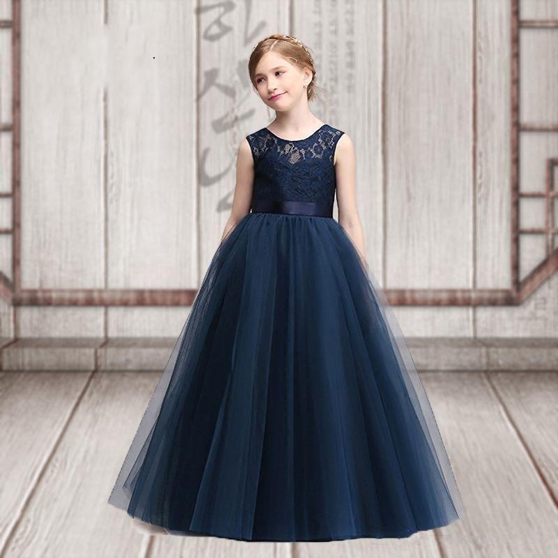 2019 Custom Made Charme Dentelle Fleur De Filles Jewel cou manches étage longueur Tulle fille Pageant Robes de bal