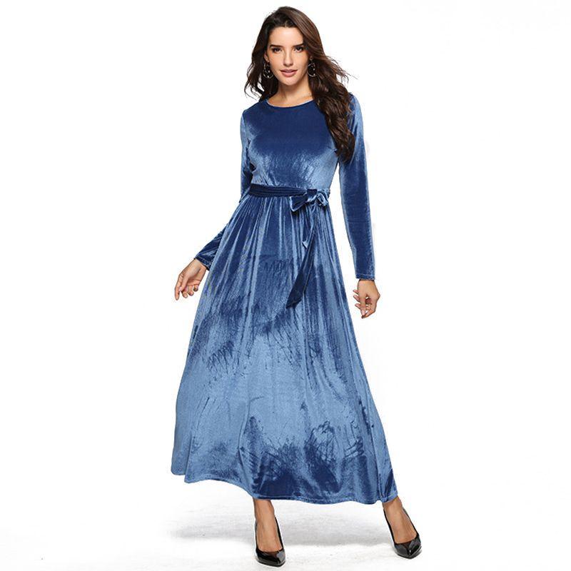 Dark Blue Vendido por mayor redondo elegante de la vendimia cuello una línea ajustado de manga larga larga cabida terciopelo Maxi partido formal vestidos de noche de las mujeres