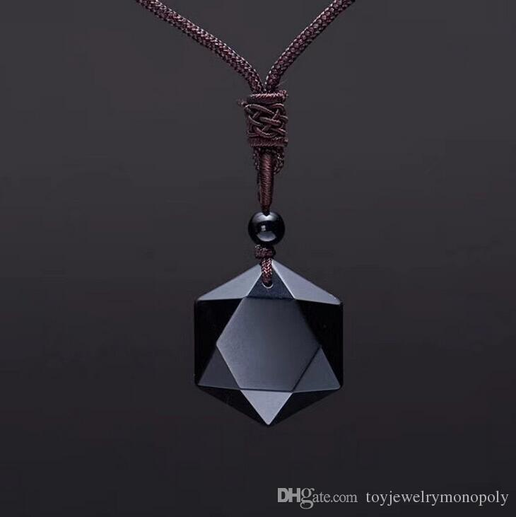Obsidian Pendant Spiriting Energy Stone Obsidian Six Mang Star Necklace Men's and Women's Sweater Chain