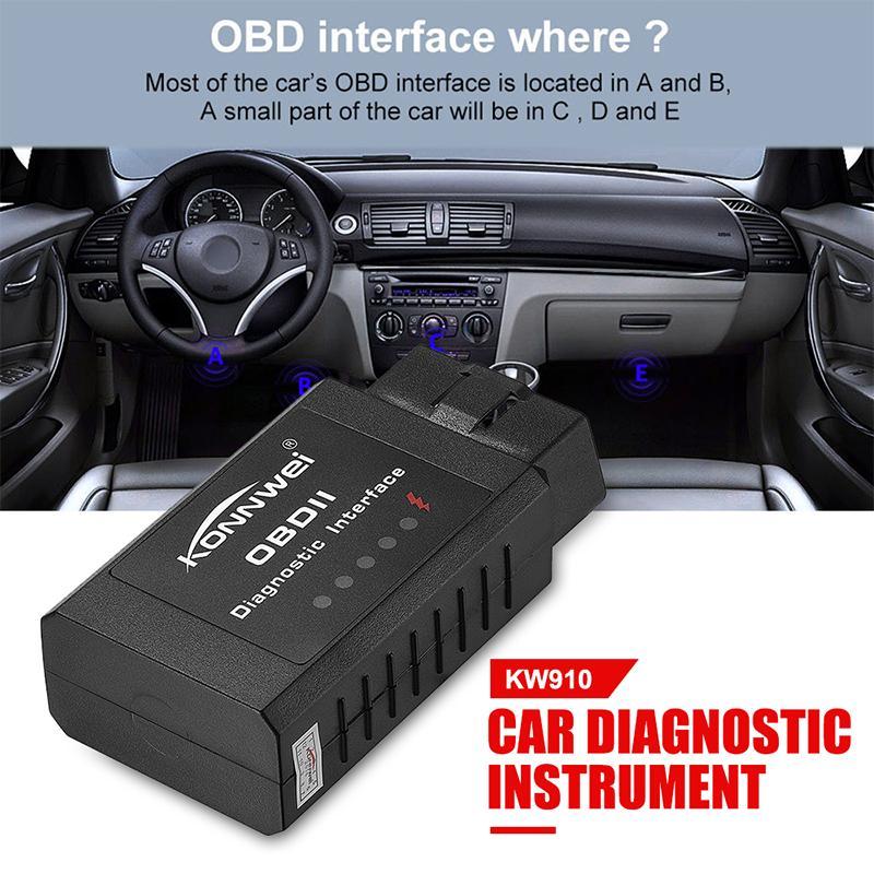 KONNWEI KW910 ELM327 OBDII OBD2 Diagnostic Auto Car Scanner Wireless Bluetooth