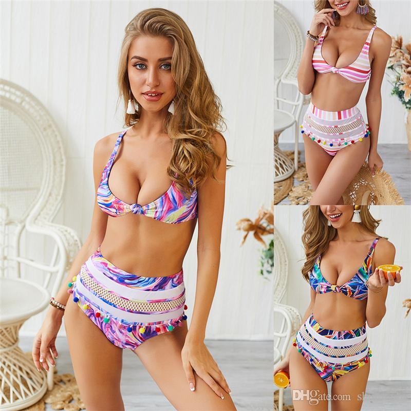 Costumes Brésilien Deux-Pièces Femme numérique Imprimer Bikinis Femmes Eau Vêtements de sport Maillots de bain bretelles spaghetti Lady équipement piscine