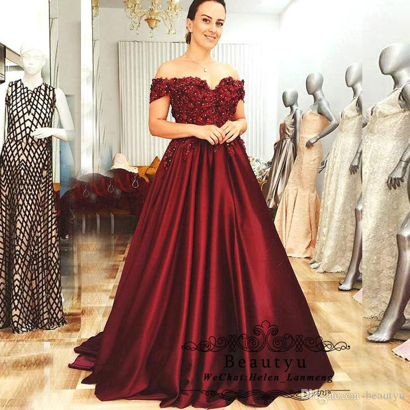 Burgundy Ball Gown Prom Dresses Long 2019 Plus Size Off Shoulder Corset  Vintage Lace 3D Hand Made Flowers Women Formal Party Wear Cheap Peach Prom  ...