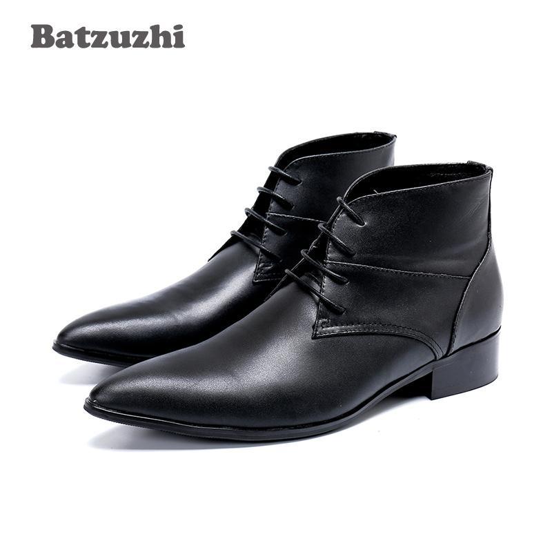 Batzuzhi tipo giapponese uomo stivaletti scarpe a punta stivali in vera pelle uomo Lace-up formale affari signori Botas Hombre, 46