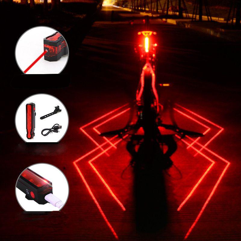 Bicycle Light Folding Laser Front Rear Safety Warning Bike Light USB Rechargeable Bike Tail Rear Light Waterproof Cycling Lamp