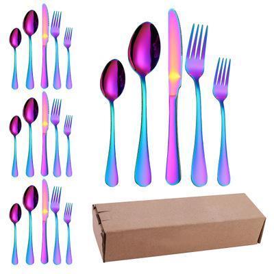 Alto grado de Cubiertos Juego de cubiertos Tenedor Cuchara Cuchillo de acero inoxidable Negro colorido de vajilla cuchillería del vajilla 20pcs EEA1417-6