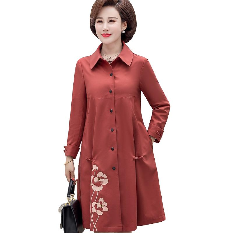 Large Size 2019 Spring Autumn Women's Trench Coat Middle-Aged New Tops Printed Trench Casual Fashion Windbreaker Plus size Q83