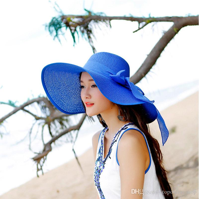 12 Colors Women Wide Brim Hat Fold Sun Hat Beach Sunhat for Women Out Door Sun Protection Straw Hat Free Shipping DH0006