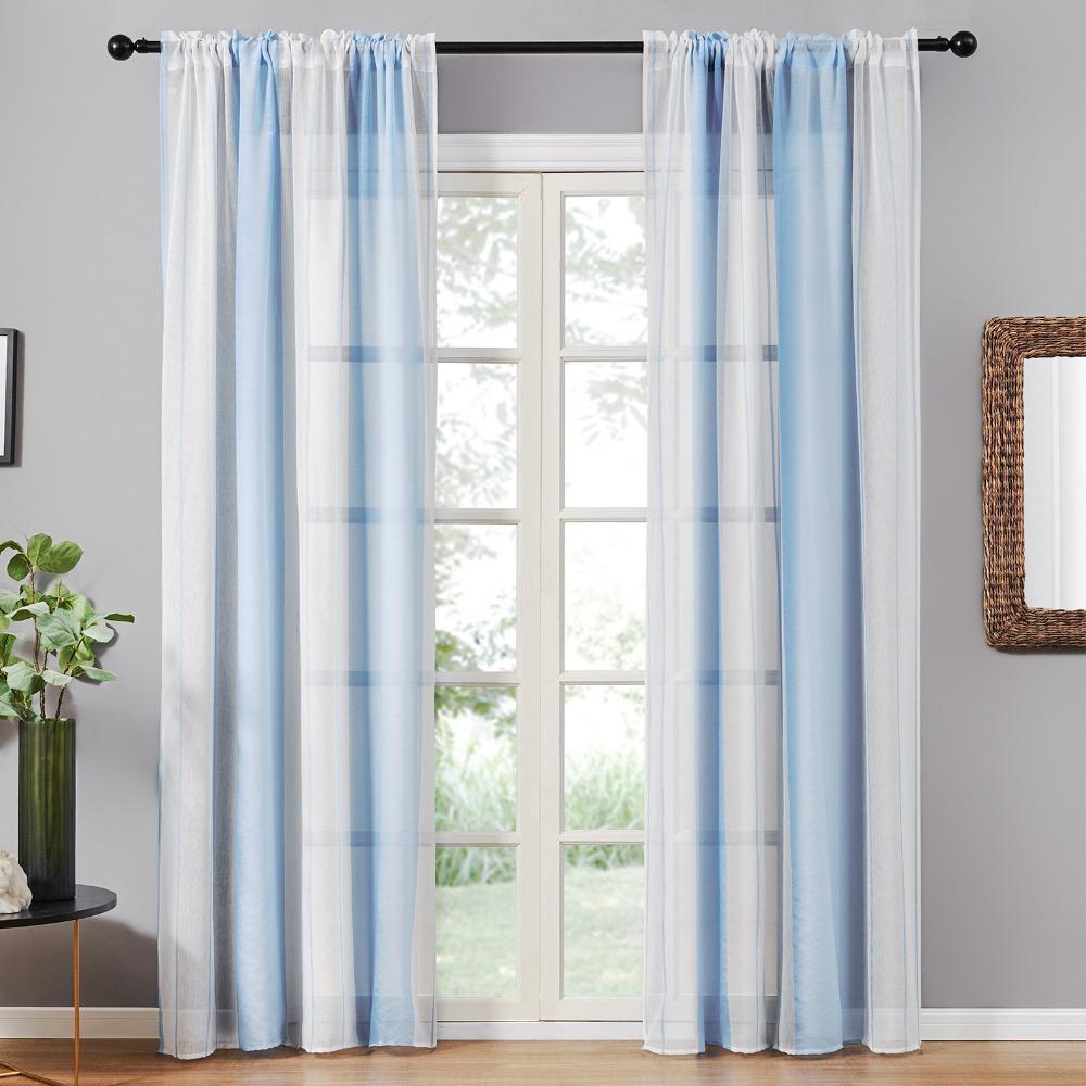 Gris Sheer gasa semi cortina cortinas para el dormitorio cocina Salón raya Gradiente Inicio decortion tul en Windows
