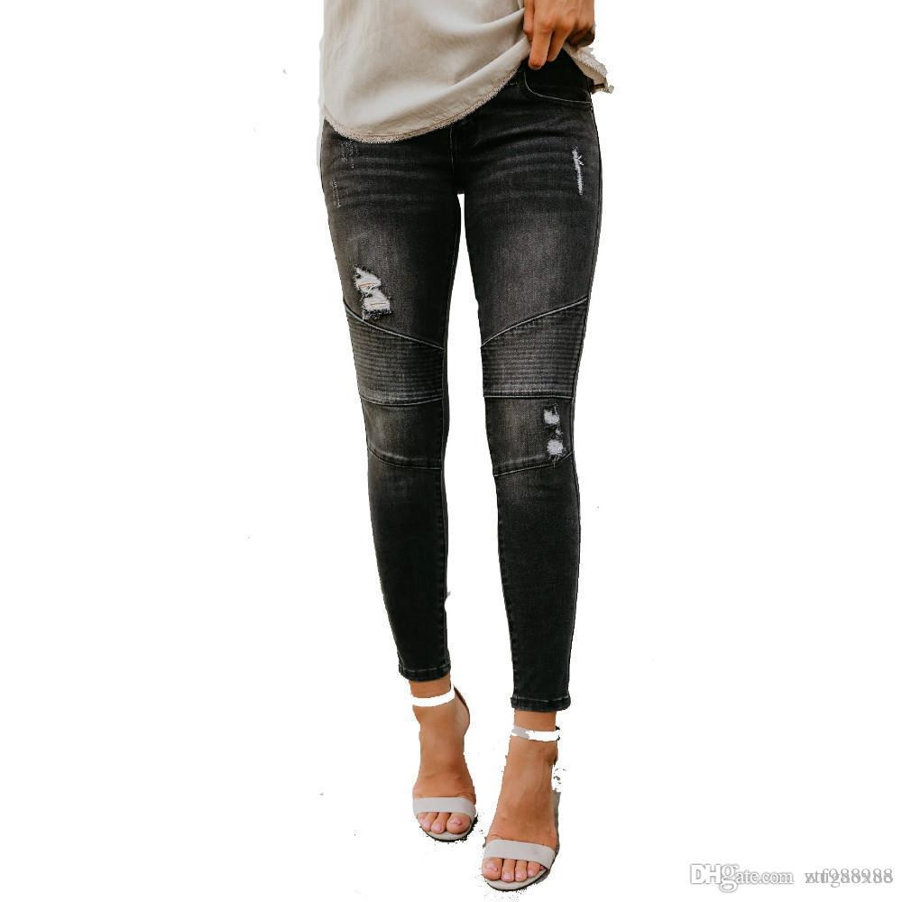 Женская мода Отверстие в уличном стиле Растрепанная эластичная плиссированная джинсовая ткань Черные джинсы Карандаш Брюки Мотоцикл Джинсы Skinny Woman