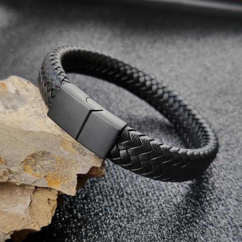 Панк браслеты Шарм черный / коричневый человек браслеты с 16 нитями плетеная кожа нержавеющая сталь магнитная застежка веревка женщины ювелирные изделия
