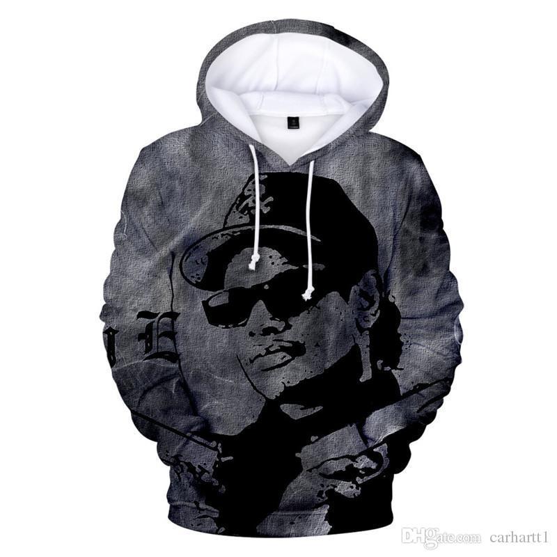 Erkek Hip Hop Marka Kapüşonlular Yeni Rapçi Eazy E 3D Baskılı Uzun Kollu Erkek Kapşonlu Kapüşonlular Casual Artı boyutu Mens Kapüşonlular