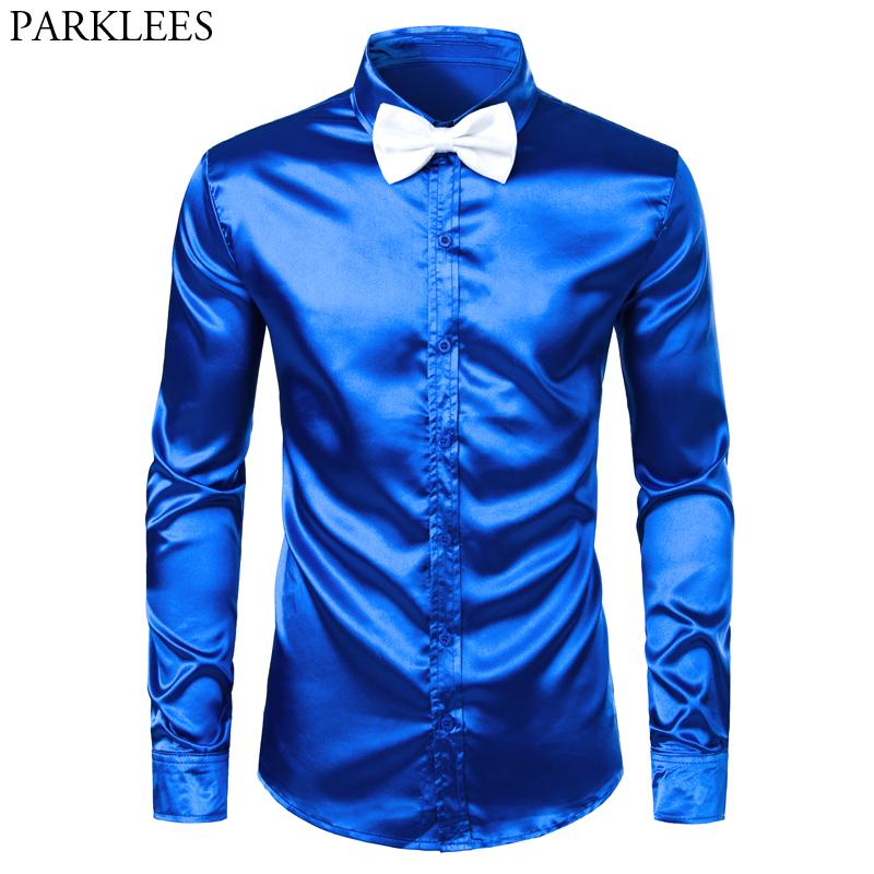 Royal Blue Robe en soie satin hommes Chemises avec blanc Bowtie 2019 Nouveau Slim Fit manches longues hommes chemise de smoking pour soirée de mariage 3XL