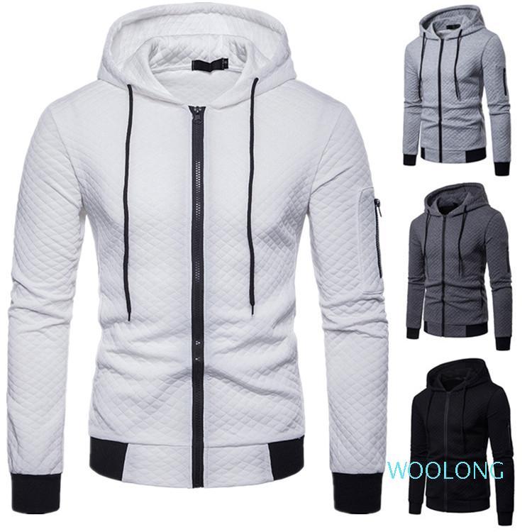 Männer Jacke beiläufige lange Hülsehoodies Mantel Art und Weise Baumwolle Plaid 2020er Männer Jakcets Mäntel neue Arival Reißverschluss-Entwurfs-Mann-Oberbekleidung-Bekleidung