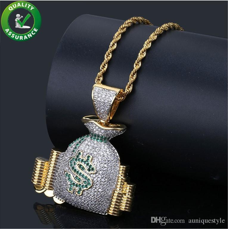 Hip Hop Jewelry Iced Out Pendant Luxury Designer Necklace Mens Gold Chain Diamond Pandora Style Charms Bling CZ Money Pocket Pendants Brand