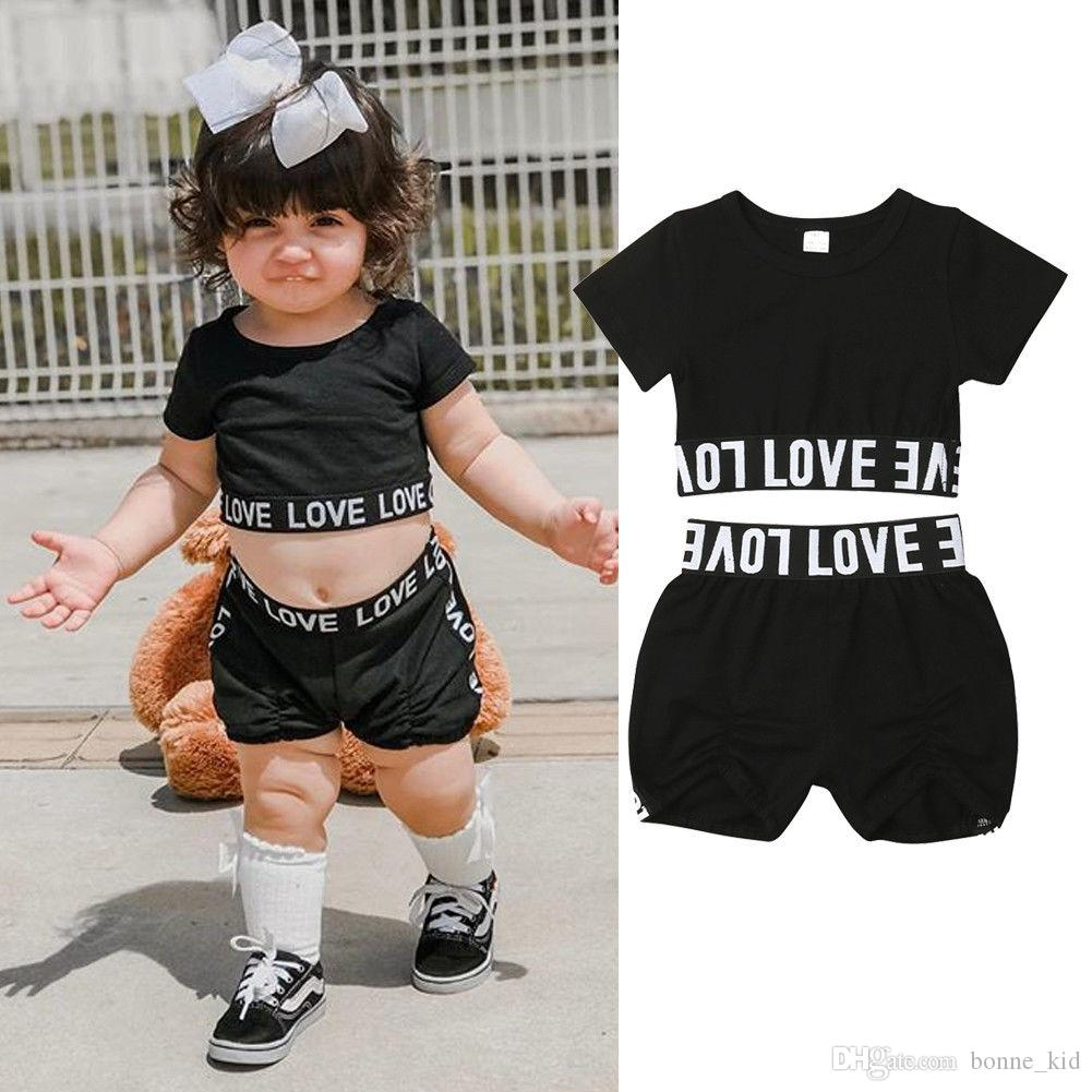 Fashion Newborn Toddler Baby Girl Crop Top T-shirt Short Pants Outfit Clothes US