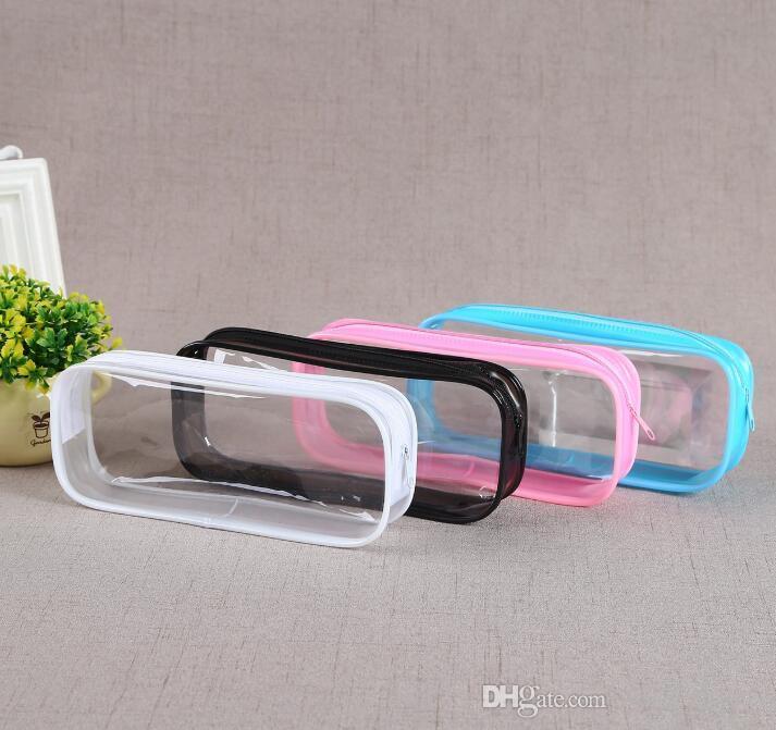 ПВХ косметическая сумка водонепроницаемая сумка школьники студентов молния ясных прозрачных пластиковых ручек хранения коробка PVC Case Mini Travel Makeup Bags Goreg