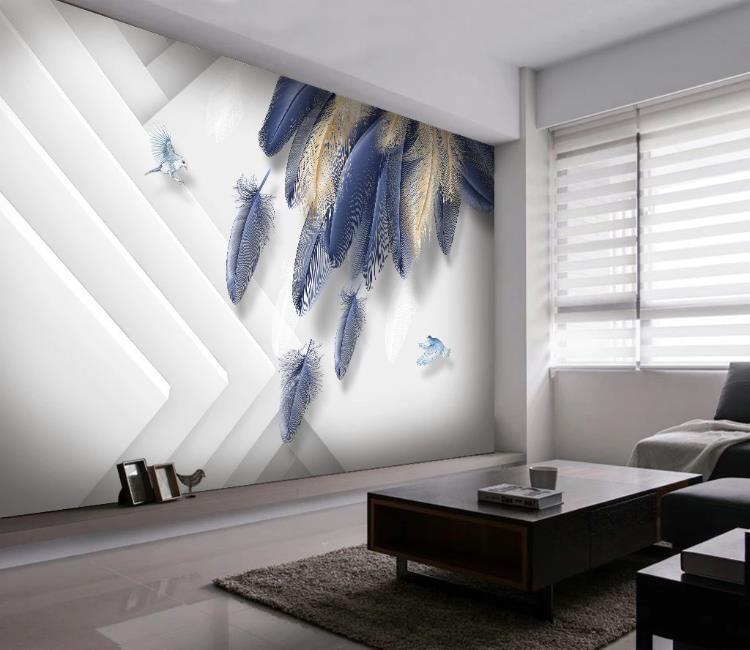 Costumbre 3d papel tapiz mural pintado a mano de oro pluma azul pared del paisaje tridimensional pintar fondos de pantalla de decoración para el hogar