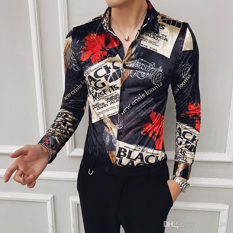 Осенний тренд нового ночной клуба парикмахер с длинным рукавом рубашки мужской большого размером корейской версия самосовершенствования золото бархатом печатной рубашки