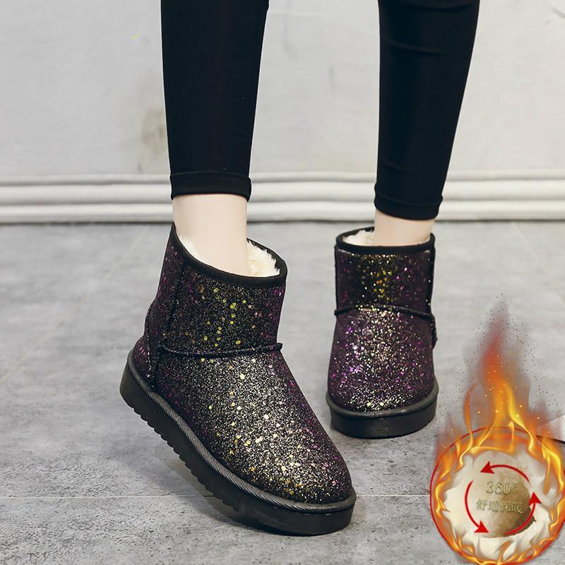 Novas botas de neve das mulheres Botas fundo macio tubo antiderrapante algodão Sequins fêmeas Grosso sapatos quente além de veludo de algodão Shoes