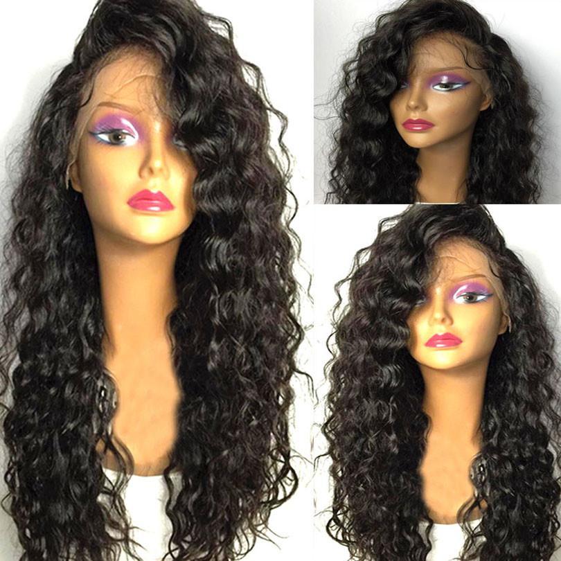 Perucas sintéticas (para o preto) Preto Longo Curly Lace perucas com cabelo do bebê por Mulheres 13x4 Kinky sintética do cabelo encaracolado parte dianteira do laço