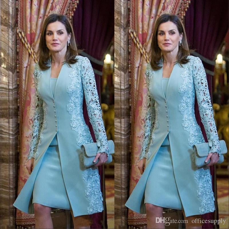 Elegant Outdoor Mother of Bride Dresses with Jacket Suits Short Two Piece Blue Long Sleeve Groom For Wedding Lace Arabic Evening Gowns