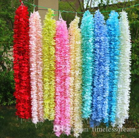 1M Long Artificial Silk Flowers Wisteria Vine Rattan 20 Colors Fake Flower Table Centerpieces Wedding Decoration Supplies Garden Wall Flower