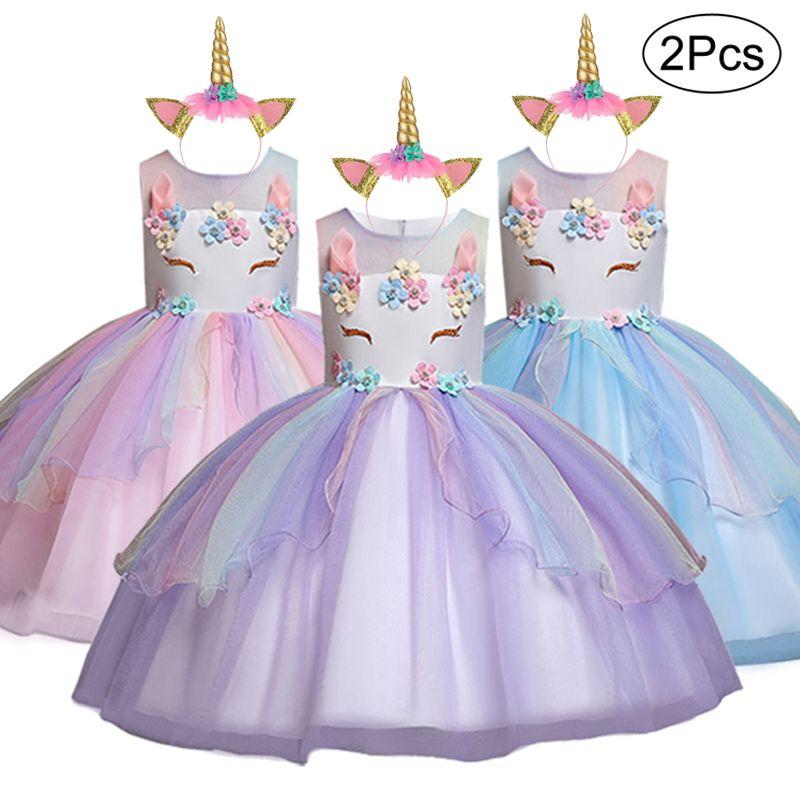 2019 unicornio vestido de los niños fiesta de cumpleaños para la niña vestido de niña Vestidos de boda del pétalo de la ceremonia Eventos Childrenes ropa de verano