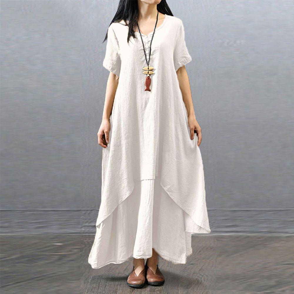 Women Clothes Women Dress Short Sleeve Loose Plain Maxi Dresses White Vintage Loose Irregular Boho Big Size Summer Spring Clothing