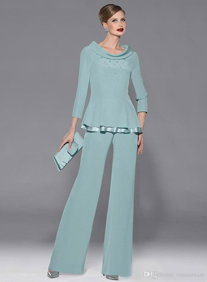 Mint Green Chiffon Mothers Pants Suit Jewel Neckline Long Sleeve With Beads And Sequins Two Pieces For Wedding Party Guest Dress