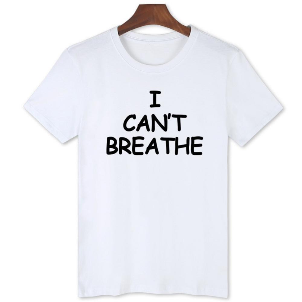 2020 S-4XL I Can not Breathe Lettre T-shirt imprimé à manches courtes O cou lâche Tops d'été Femmes Hommes Fitness Gym T-shirt Y200603