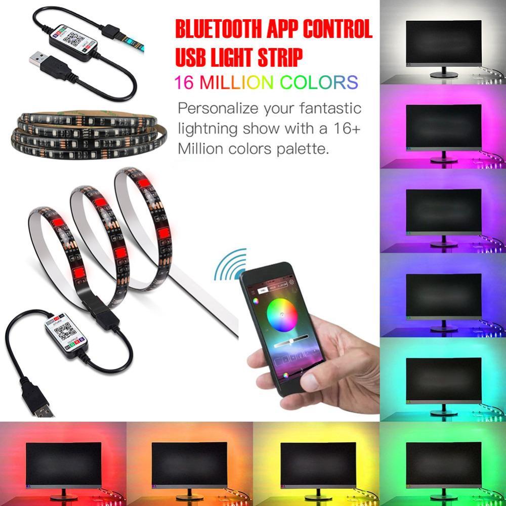 LED Şerit Işıklar, Bluetooth APP Kontrol Sync Müzik Su geçirmez TV LED arka ışık RGB 5050 LED Şerit USB için 24-60 İnç, Önyargı Aydınlatma