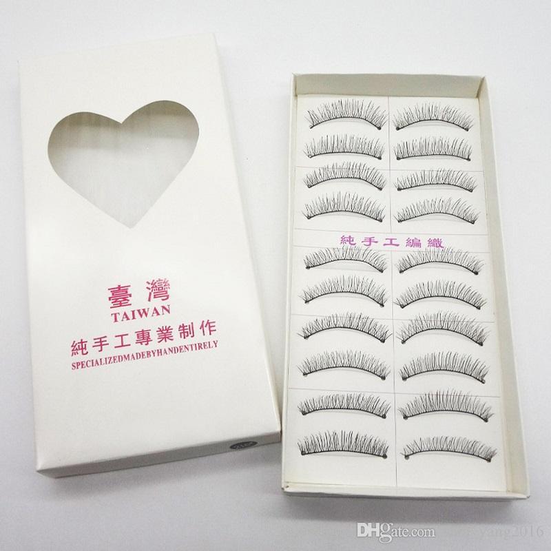 10pairs/set Handmade Natural Long False Eyelashes Black Cotton Stalk Thick Fake Eyelash Makeup Tools WB586