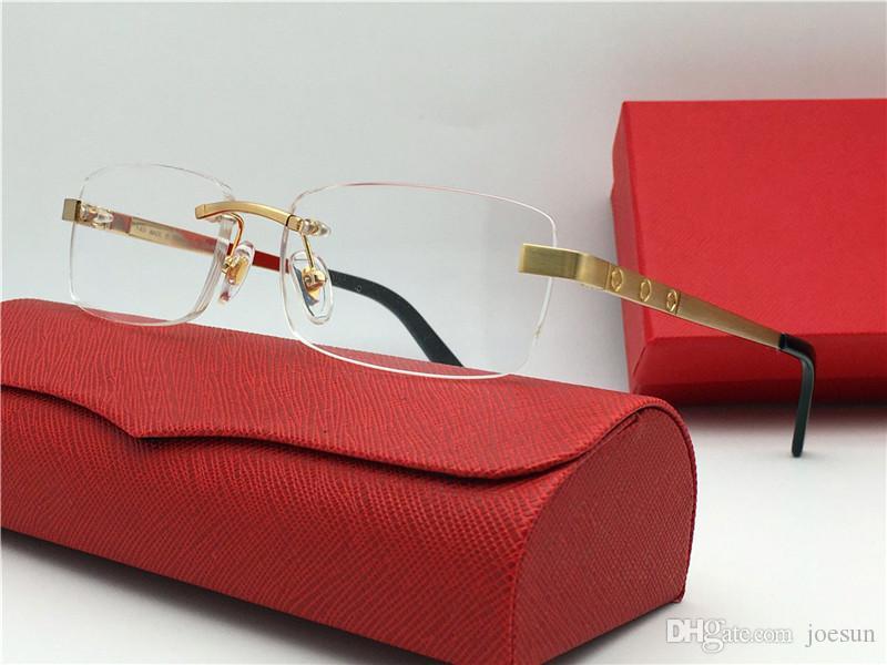 الأكثر مبيعا النظارات الإطار 18K بدون شفة الإطار مطلية بالذهب نظارات البصرية خفيفة جدا للرجال نمط الأعمال أعلى جودة مع مربع 3645635