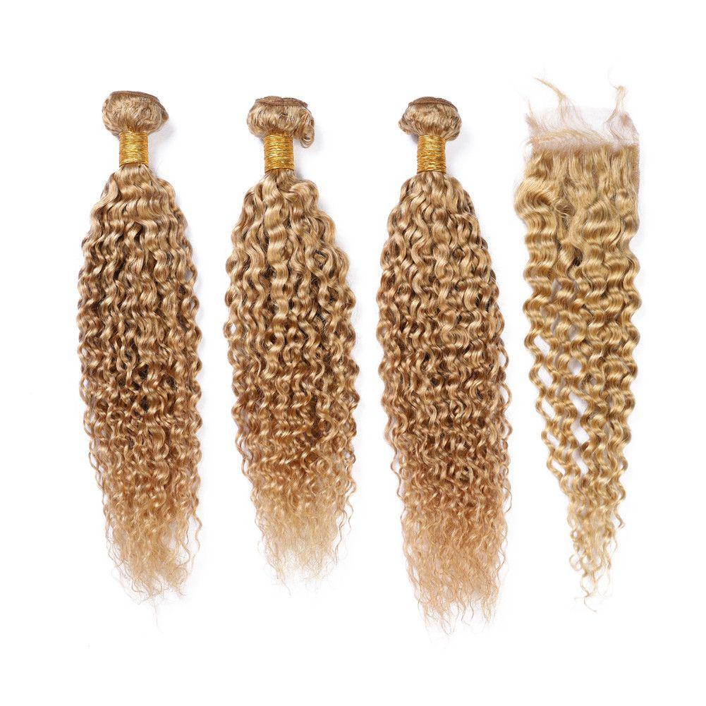 Honey Blonde de Malasia pelo de la Virgen teje con cierre rizado rizado 3Bundles con cierre de luz # 27 tramas del pelo marrón con cierre de encaje Humanos