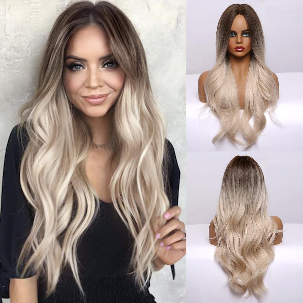 Synthetic cabelo (para o preto) ondulado longo Brown para loiro claro Ombre Perucas Parte Oriente naturais perucas sintéticas para Mulheres Negras