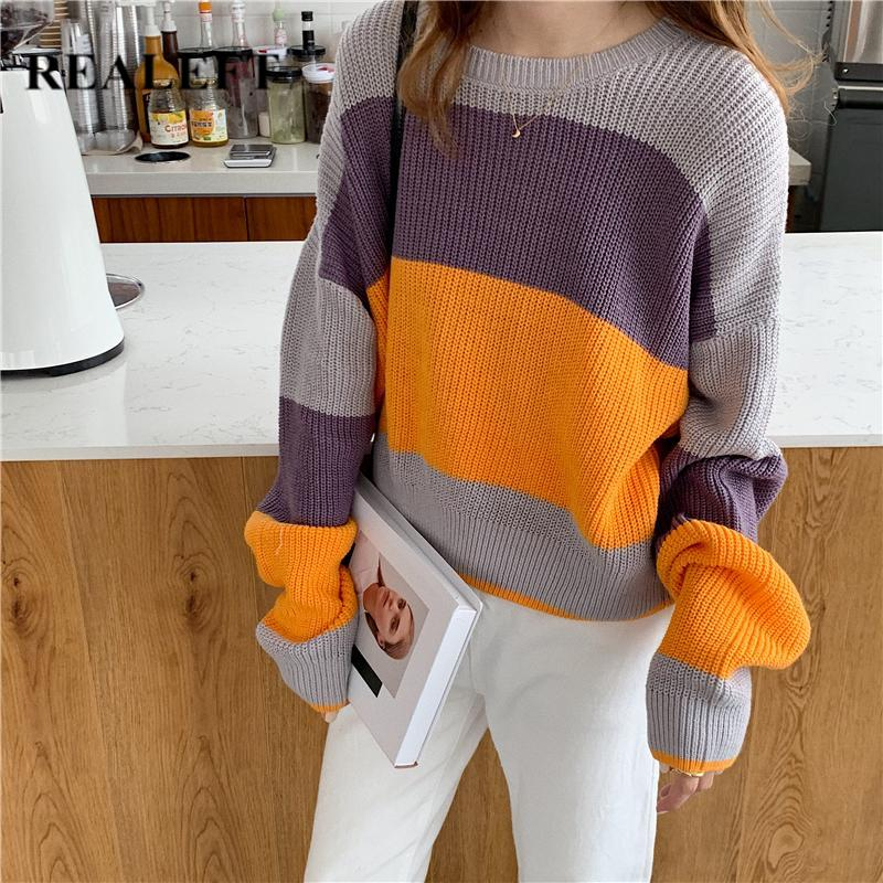 REALEFT Autumn Winter Long Sleeve Striped Loose O-Neck Women's Sweaters Pullover Korean Style Minimalist Knitting Sweater Casual Tops Female