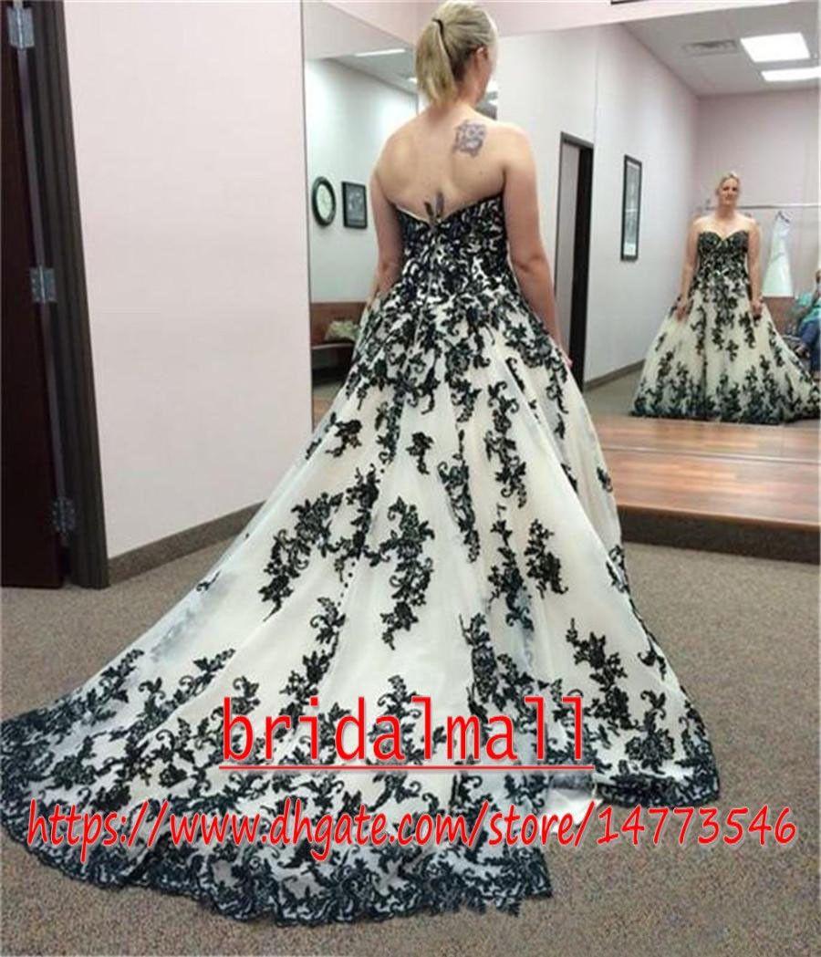 Vintage gothique noir et blanc Appliqued robes de mariée 2020 Taille Plus chérie Corset Pays Cowgirl Western mariage Robes de mariée