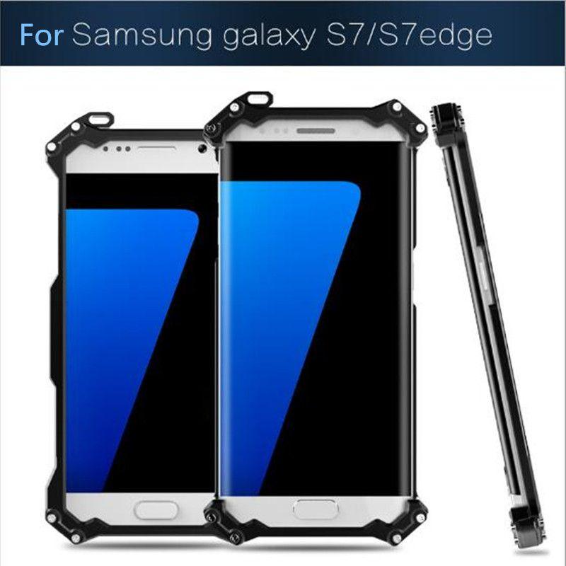 S7 S7 kenar kılıf için R-JUST Gundam Orijinal CNC Zırh Kabuk Metal Alüminyum koruma telefon shell kılıf Samsung Galaxy S7 kenar