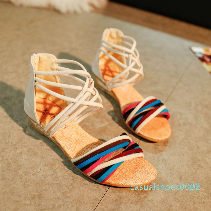 Büyük boy kama sandalet kadınlar rahat tip 2020 yaz yeni açık ayak sandalet kız öğrencilerin plaj ayakkabıları c22