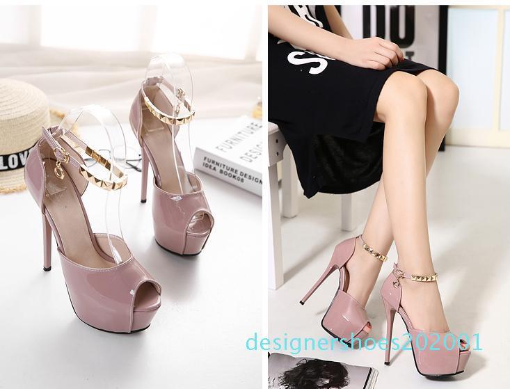 Moda inferior rojo talones desnudos patente de cuero de la PU correa del tobillo zapatos de las mujeres zapatos de boda Tamaño 34 a 39 d01