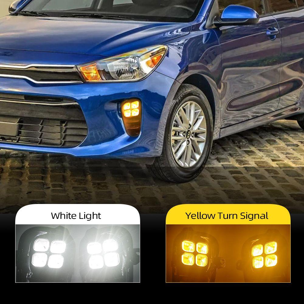 2pcs per Kia Rio 2017 2018 2019 2020 2020 Auto Daytime Light Front Bumper FOG FOG LAMPADA LED DRL con Giallo