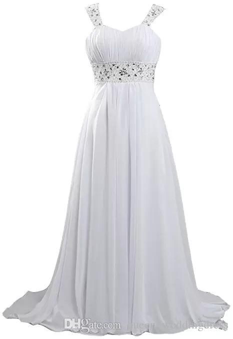 2016 Beach Wedding Dresses Long Chiffon Plus Size Wedding Dresses Cheap Bridal Gowns White/ Ivory Wedding Party Guest Dress Floor-Length