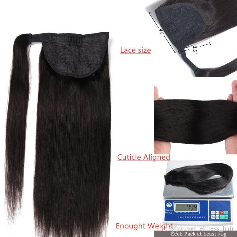 Brazilian Remy Haar Pferdeschwanz Schachtelhalm Clips in / auf 100% Menschenhaar-Verlängerung Glattes Haar 100g Einteiler