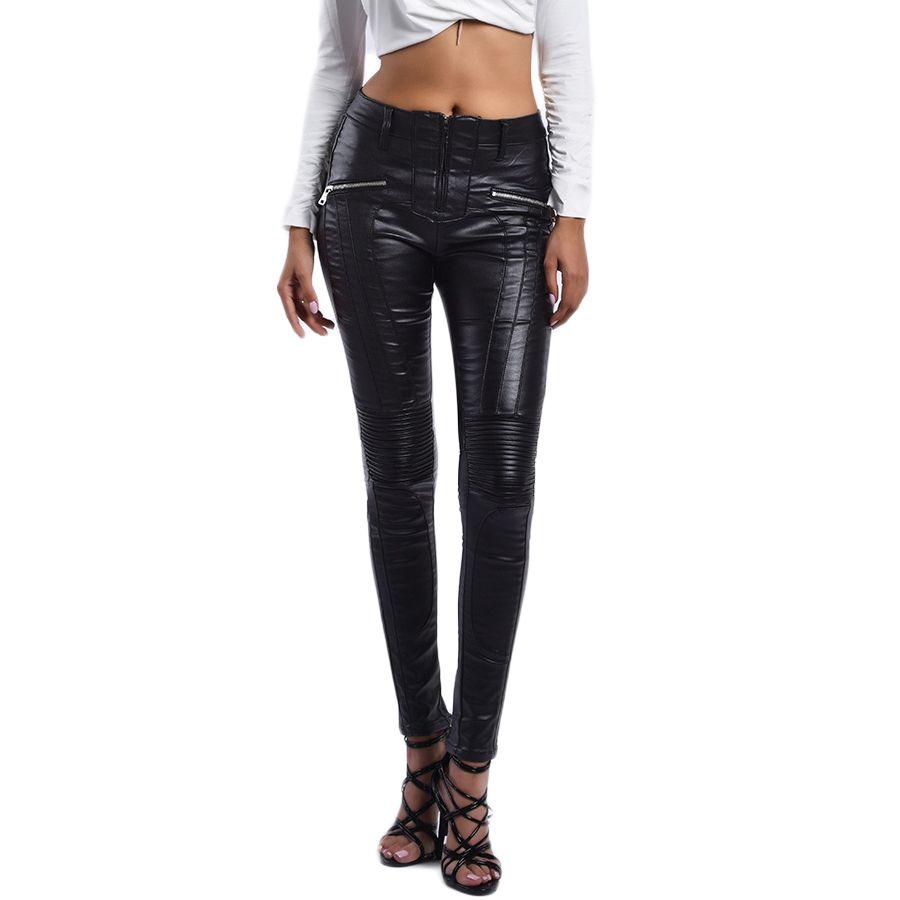 Kadınlar Sıkı Sıkı Rider Artı Kadife Kalem Pantolon Bayanlar Legging Siyah S-XXXL için Sonbahar Kış Seksi Fermuar PU Deri Pantolon