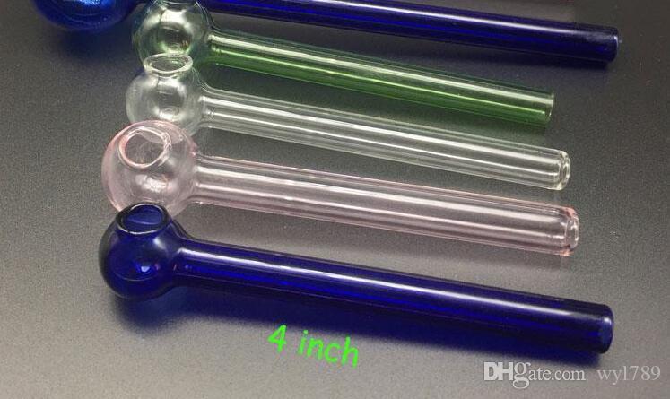 10 cm Glas Ölbrenner Rohr Günstige Glaspfeifen Bubbler Pyrex Ölbrenner Rohre Glasgriff Rohre njy