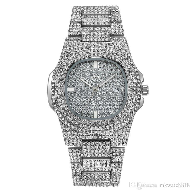 Neue Luxusmode Herrenuhr Hip Hop Bling Diamant Iced Out Designer Uhren Edelstahl Quarzwerk Dame Uhren Sport Relogio