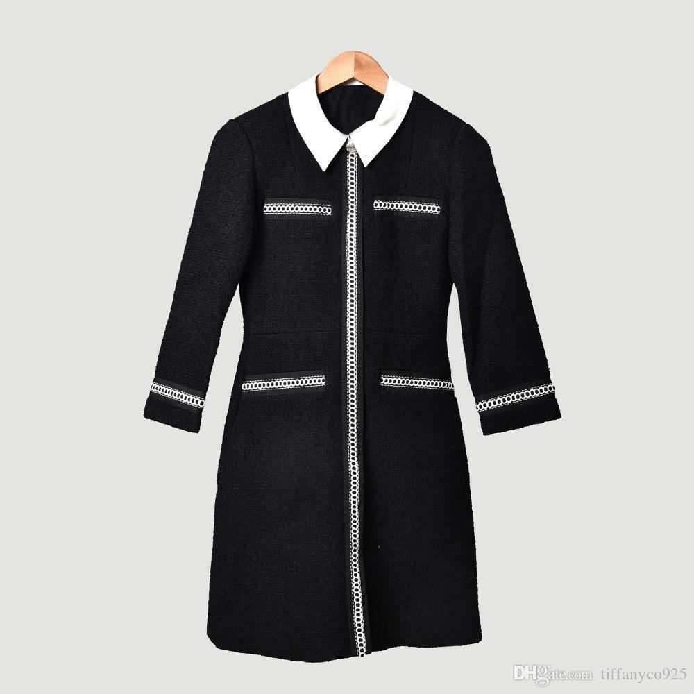 2020 весна лето черный 4/5 рукава нагрудные Шея Контрастность Цвет Tweed Щитовые колен платье моды Повседневные платья MD09173235